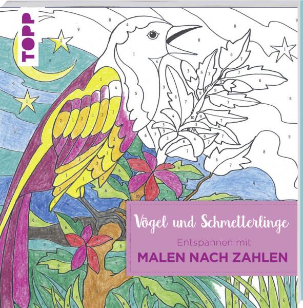 Entspannen mit Malen nach Zahlen - Vögel und Schmetterlinge