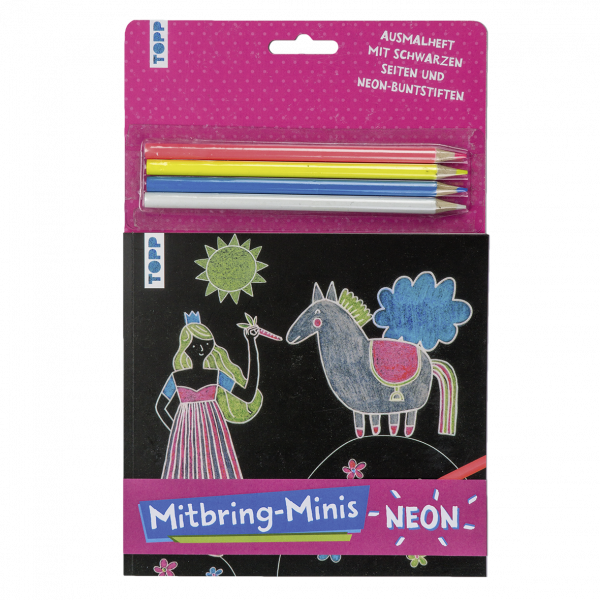 Mitbring-Minis Schwarzes Ausmalheft mit Neon-Buntstiften