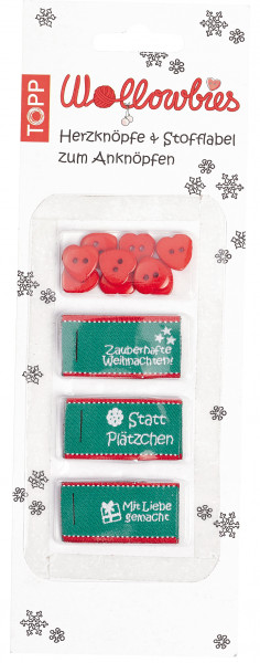 Wollowbies Herzknöpfe & Stofflabel Weihnachten