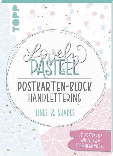 Lovely Pastell Handlettering Postkartenblock Lines & Shapes, VE=3 Ex.
