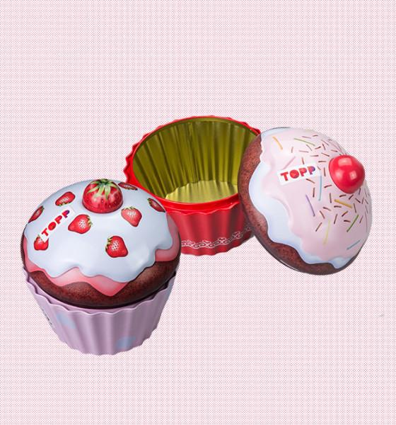 Farbenfrohes Set aus 2 Cupcake-Dosen